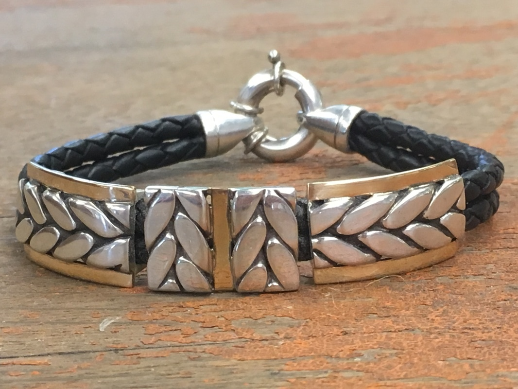 Leather and Herringbone Bracelet